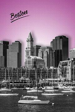 BOSTON Skyline | Grafische Kunst | roze  van Melanie Viola