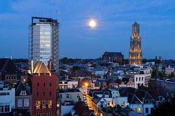 Stadsgezicht van Utrecht met Neudeflat, stadskasteel Oudaen, Domkerk en Domtoren von Donker Utrecht