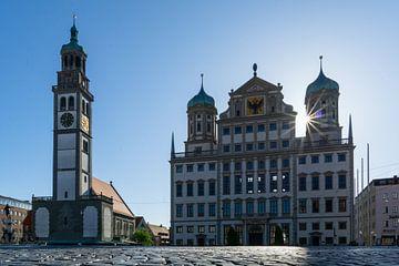 Stadhuis en Perlachturm in Augsburg van Melanie Jahn