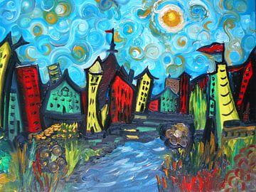 Whimsical Van Gogh Style Town von Rhonda Clapprood