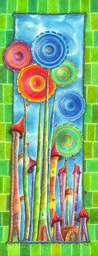 Windblumen Land 2 van Atelier BuntePunkt