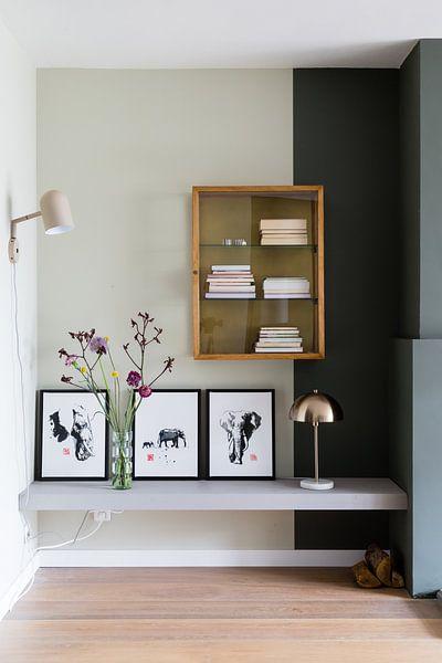Klantfoto: olifantenprofiel van philippe imbert, op canvas