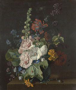 Stokrozen en andere bloemen in een vaas, Jan van Huysum
