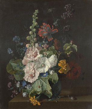 Stockrosen und andere Blumen in einer Vase, Jan van Huysum