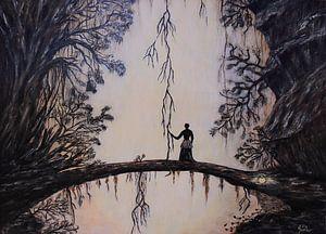 Vrouw in de jungle schilderij van Bobsphotography