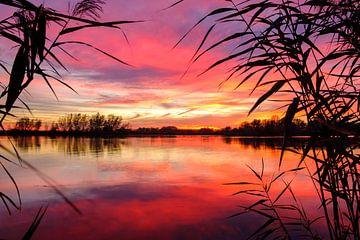 Kleurrijke zonsondergang over de rivier de IJssel tijdens een mooie herfstavond in Overijssel van