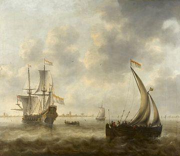 Gezicht op de schepen op een rivier, Jacob Adriaensz Bellevois van
