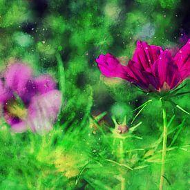 Gartenblümchen in knallig Pink von Petra Dreiling-Schewe