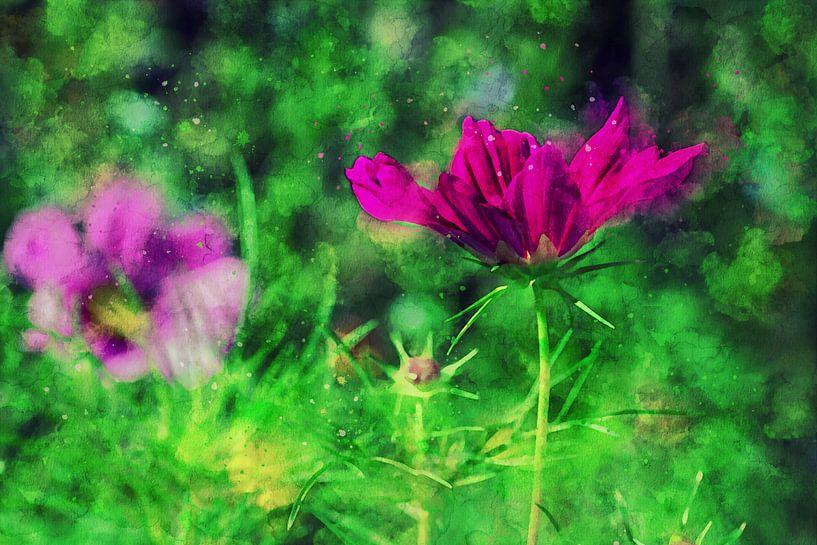 Tuinbloemen in helder roze van Petra Dreiling-Schewe