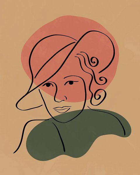 Vrouw met hoed lijn tekening met twee organische vormen van Tanja Udelhofen