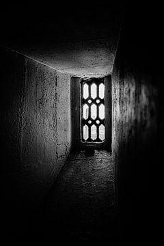 Blick durch ein altes Fenster des Tower of London | London | Schwarz-Weiß-Foto von Diana van Neck Photography