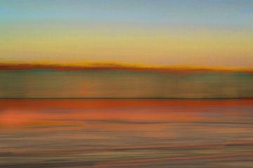 Rietkraag bij Oostvaardersplassen, zonsondergang, abstract van Paul Roholl