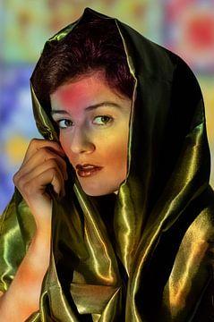 Vrouw in Marrokaanse setting van Iris Kelly Kuntkes