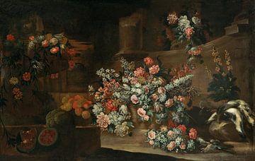 Stillleben mit Blumen, Früchten und Vögeln inmitten von Ruinen, Lombardschule