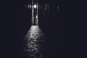 Steeg in zwart wit met avondlicht van