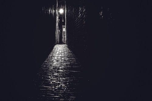 Steeg in zwart wit met avondlicht