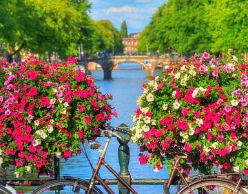 Bloemen op de gracht in Amsterdam von Dennis van de Water
