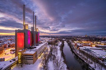Winter zonsondergang in Hannover van Michael Abid