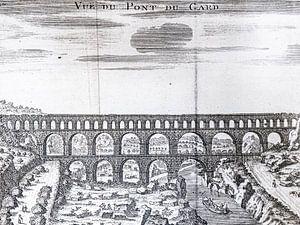 Kopergravure van de Pont du Gard