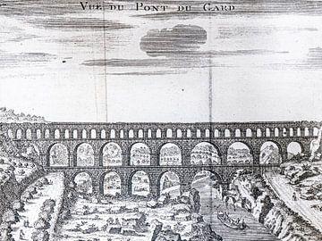 Kopergravure van de Pont du Gard van Frankrijk Puur