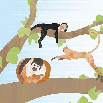 Fröhliche Affen im Baum von Karin van der Vegt