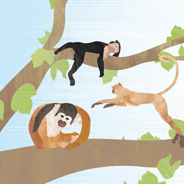Vrolijke aapjes in boom van Karin van der Vegt