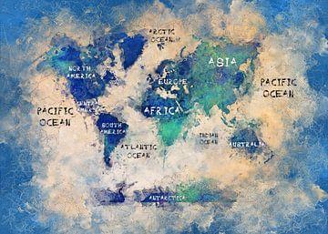 Wereldkaart 18 #kaart #wereldkaart van JBJart Justyna Jaszke