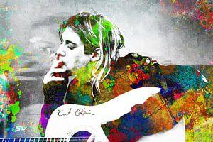 Kurt Cobain Abstraktes Porträt in verschiedenen Farben