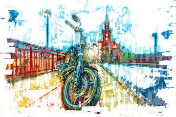 Motorrad in Dortmund am Hafenamt von Johnny Flash