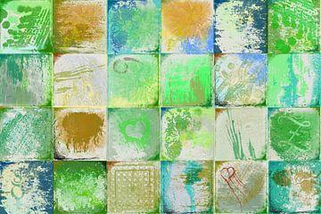Collage met groen en goud van Rietje Bulthuis