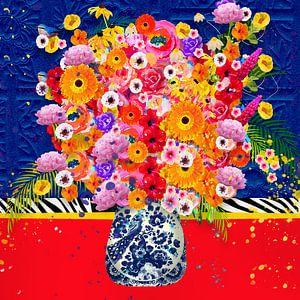 Vrolijk bloemen modern stilleven schilderij van Nicole Roozendaal