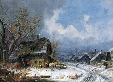 Winterliches Dorf, HEINRICH BÜRKEL, Um 1845