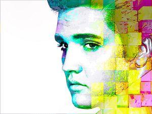 Elvis Presley Abstraktes modernes Porträt in Blau, Gelb, Rosa