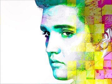 Elvis Presley Abstraktes modernes Porträt in Blau, Gelb, Rosa von Art By Dominic