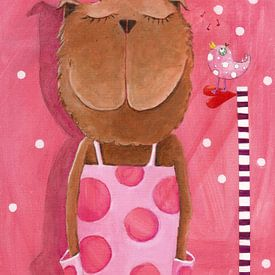 Misses Bear houdt Muziek  - Schilderij voor Kinderen sur Atelier BuntePunkt
