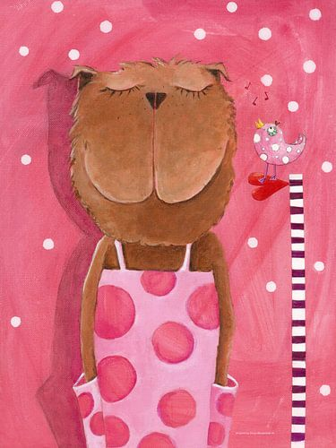Misses Bear houdt Muziek  - Schilderij voor Kinderen sur