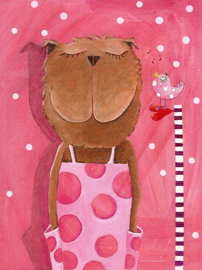 Misses Bear houdt Muziek  - Schilderij voor Kinderen van Atelier BuntePunkt