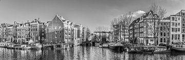 Oude schans Amsterdam centrum, Nederland. Zwart wit van Rietje Bulthuis