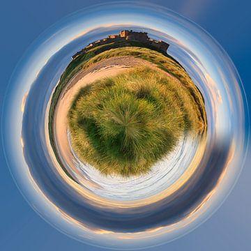 Een Photoshop creatie van het kasteel van Bamburgh