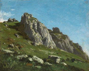 Berglandschaft Carlos de Haes-Sunny, Berg aus Stein, grünes Gras, antike Landschaft