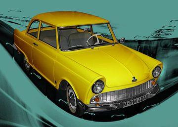 DKW Junior in geel & cyaan van aRi F. Huber