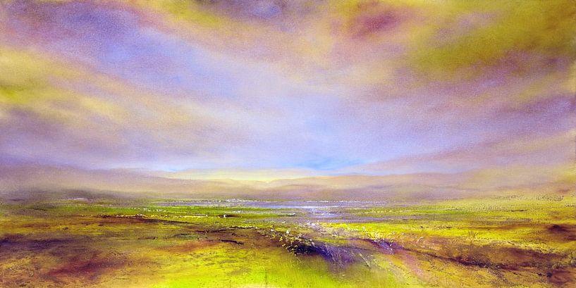 Het licht: violet en geel-groen van Annette Schmucker