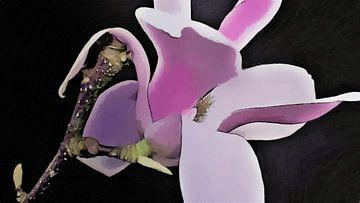 Magnolia Bloem op Tak - Geschilderd - Zwarte Achtergrond