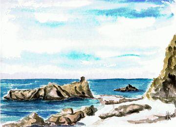 Rotsen op het strand, einde van Almyra Beach - Griekenland - aquarel geschilderd door VK (Veit Kessl
