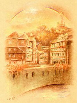 Historische Altstadt Dillenburg mit Regenbogen von Marita Zacharias