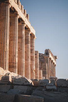 Vroege ochtend op de Acropolis, Athene van Tes Kuilboer