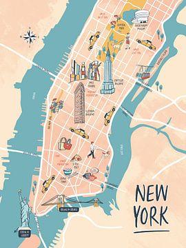 New Yorker Bildkarte von Karin van der Vegt