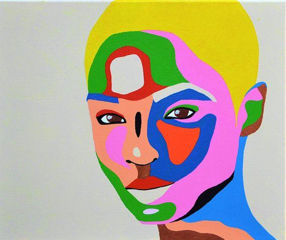 Shortcut, schilderij van blonde vrouw  van Freek van der Hoeve