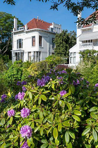 Witte huis met rododendron van Trinity Fotografie