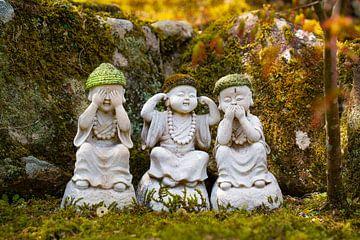 Horen zien en zwijgen Buddha beeldjes van Mickéle Godderis